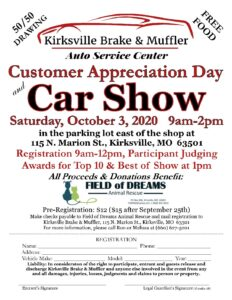 Kirksville Brake & Muffler Customer Appreciation Day and Car Show @ Kirksville Brake & Muffler | Kirksville | Missouri | United States