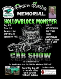 Duane Harter Memorial Hollowblock Monster Car Show @ Tri-State Engin Grounds | Portland | Indiana | United States