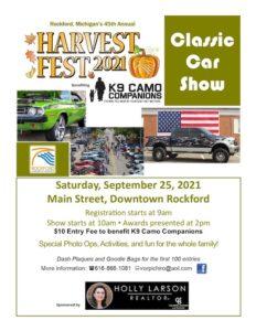 Harvest Fest Car Show for K9 Camo Companions @ Rockford Michigan Main Street   Rockford   Michigan   United States